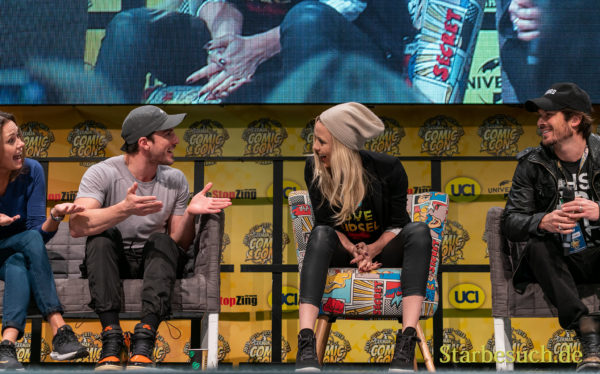 DORTMUND, GERMANY - December 8th 2019: Michael Trevino, Riley Voelkel, Ian Somerhalder and Olga Fonda at German Comic Con Dortmund