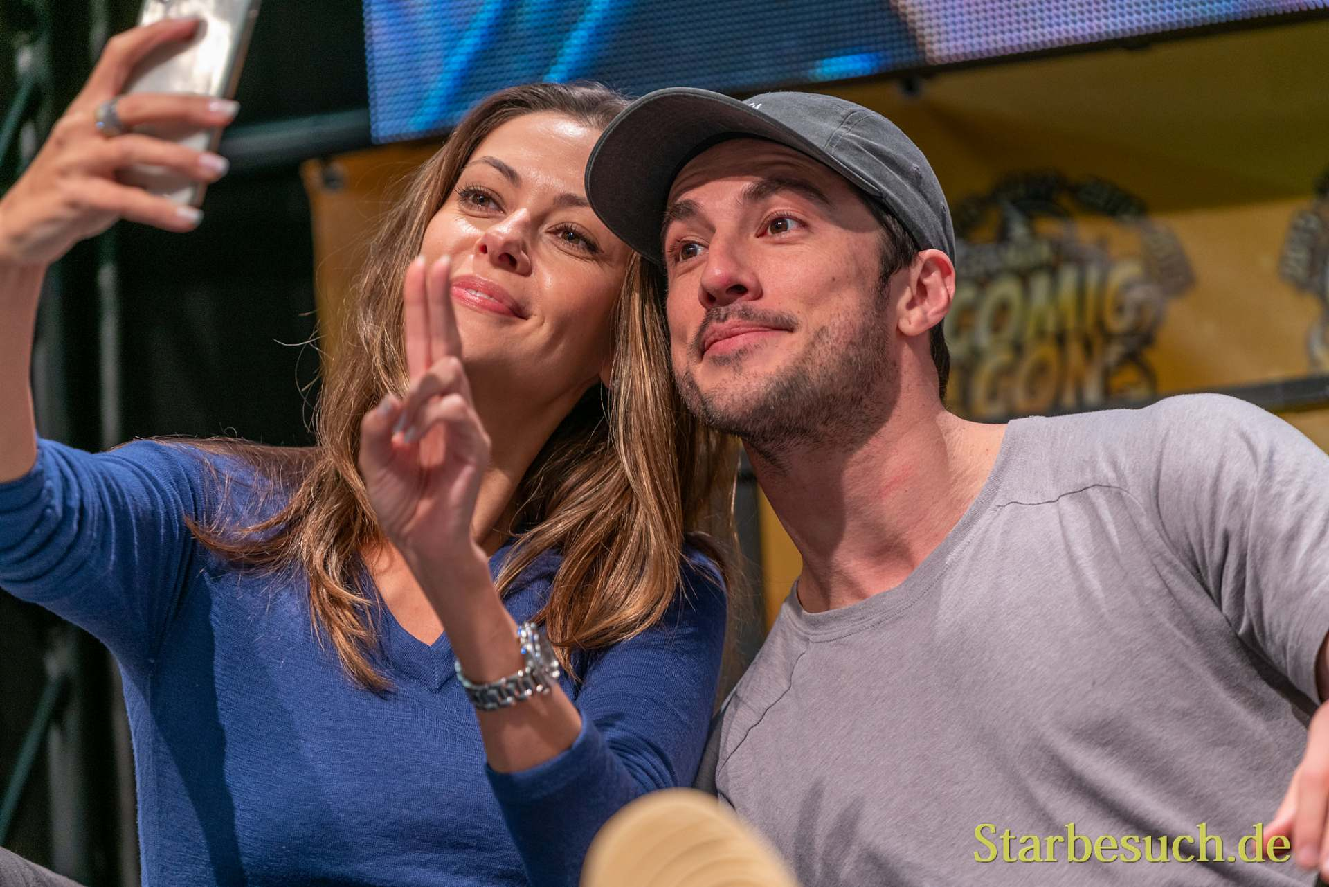 DORTMUND, GERMANY - December 8th 2019: Olga Fonda and Michael Trevino at German Comic Con Dortmund