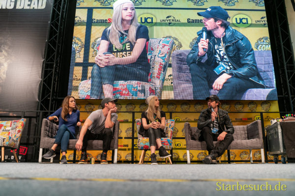 DORTMUND, GERMANY - December 8th 2019: Olga Fonda, Michael Trevino, Riley Voelkel and Ian Somerhalder at German Comic Con Dortmund
