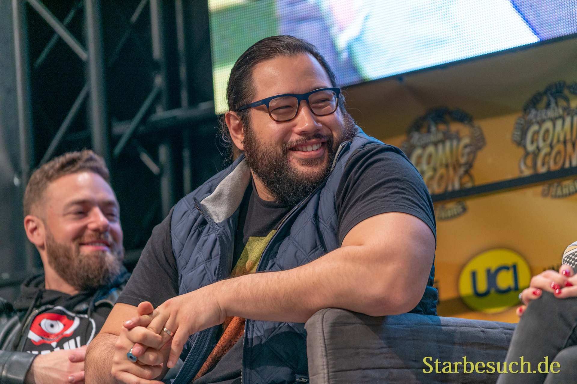 DORTMUND, GERMANY - December 8th 2019: Cooper Andrews and Ross Marquand at German Comic Con Dortmund